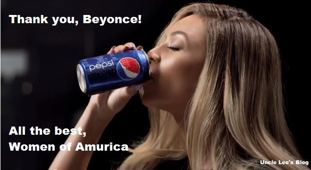 Beyonce drinking pepsi with caption saying Thank you Beyonce love America.